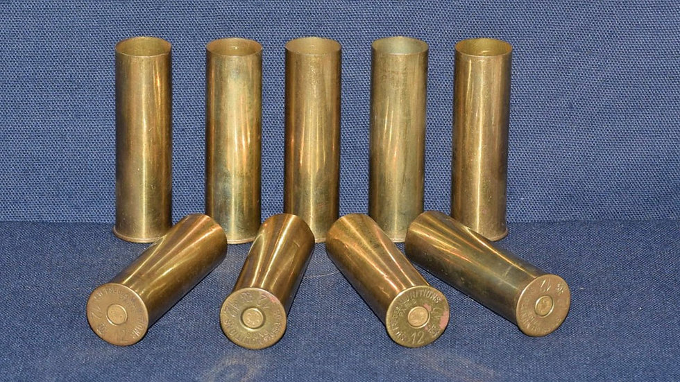 12 Bore Primed Brass Cartridge Cases.