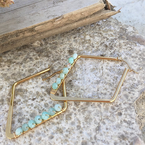 Amazonite Diamond Hoopers