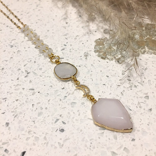 White Jade and Moon Moonstone Necklace