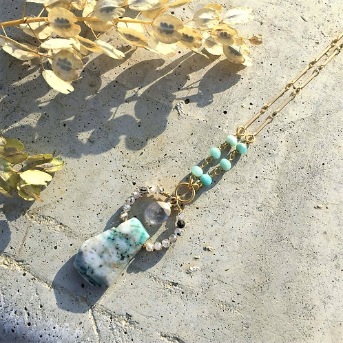 Amazonite, Rutilated Quartz, Tree Agate Goodness Necklace