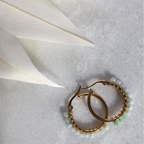Blue Opal Circle Hooped Earrings