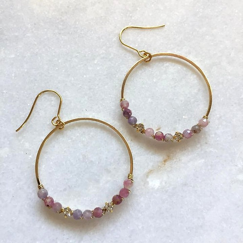 Tourmaline and rhinestone hoop earrings
