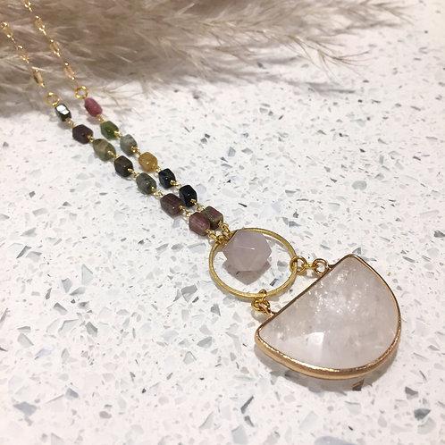 Tourmaline and Rose Quartz Necklace