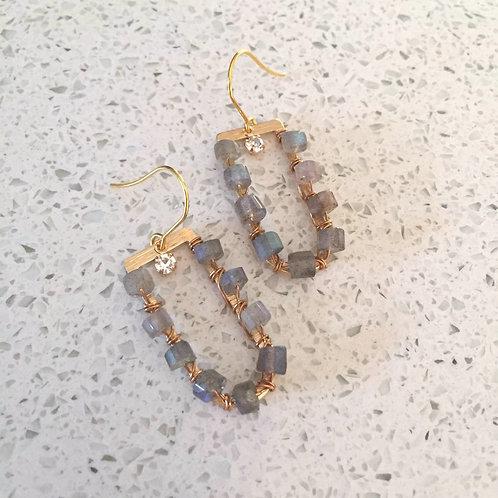 Labradorite U Shaped Brass Earrings