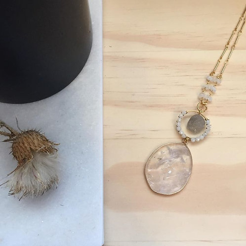 Moonstone, Labradorite and Clear Quartz Necklace