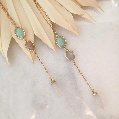 Amazonite, Sunstone and Quartz Lariat Necklaces