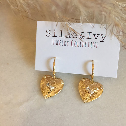 Heart Drop Latchback Earrings