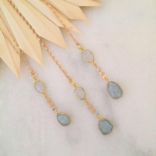 Moonstone and Aquamarine Dangle Drop Necklace