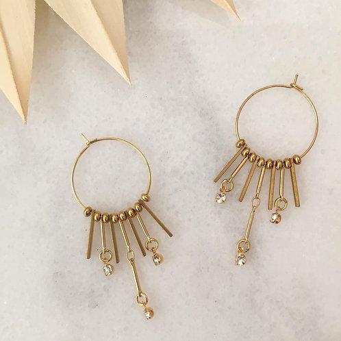 Dangle and Fringe Hoop Earrings