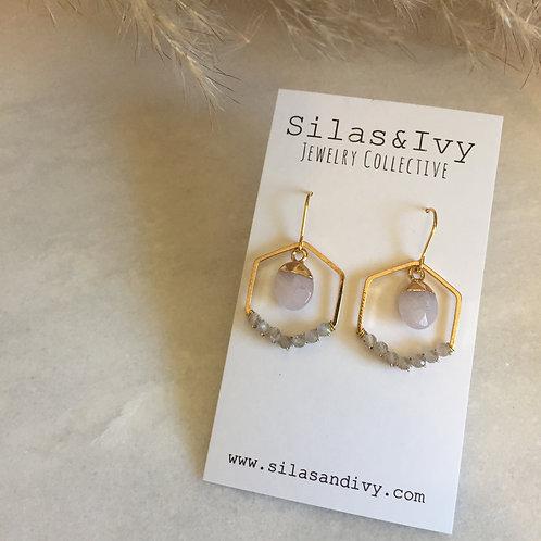 Labradorite and Rose Quartz Hexagon Earrings