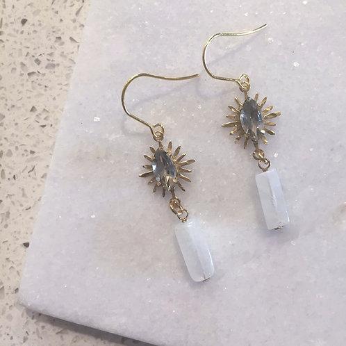 Meena Rhinestone Moonstone Dangle Earrings