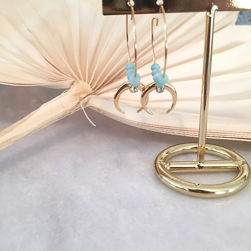 Alynah Amazonite Hoop Moon Earrings
