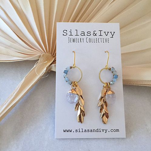 Mia Aquamarine Leaf Earrings