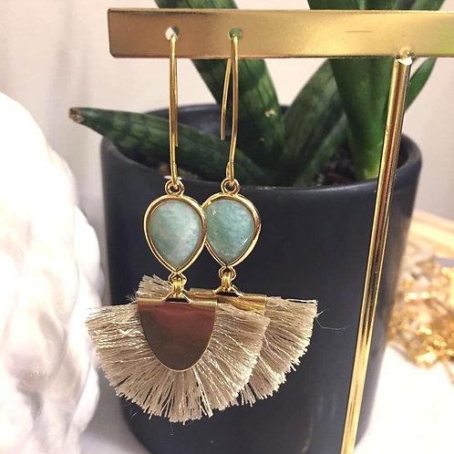 Amazonite Tan Fan Tassel Earrings