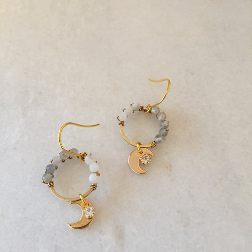Tylah Moonstone Moon Earrings