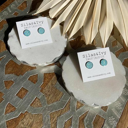 Blue Baby Circle   Stud Earrings