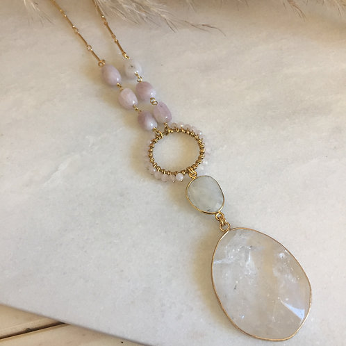 BABE Clear Quartz and Kunzite Necklace OOAK (only one made)
