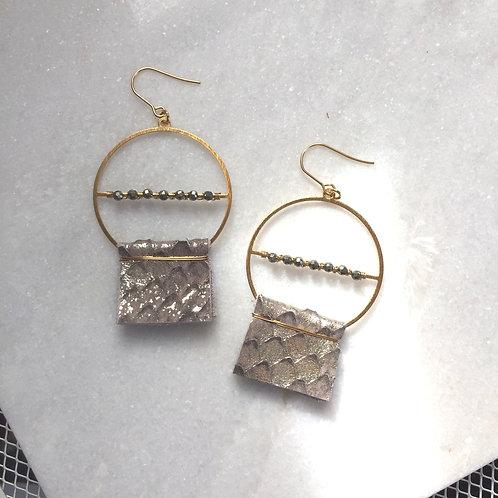 Pyrite Leather Goddess Earrings