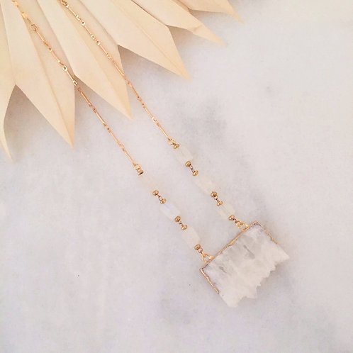 White Agate and Moonstone Everyday Necklace
