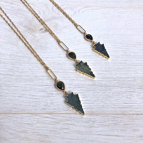 Labradorite Arrow   Long Necklace