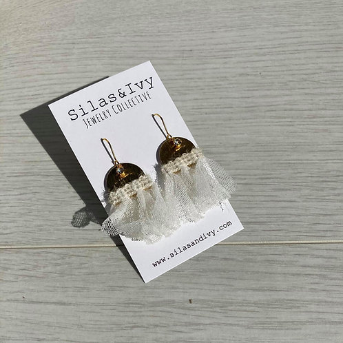 Ruffled in White | Dangle Earrings