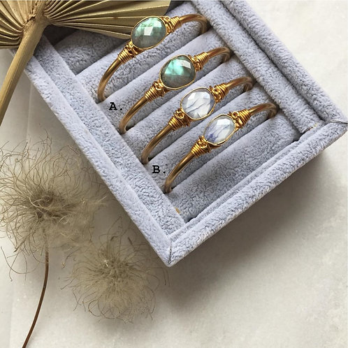 Labradorite or Sapphire Moonstone Cuff Bracelet