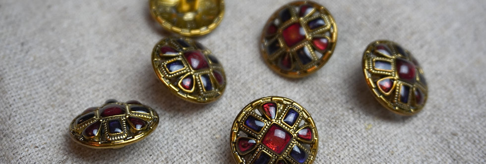 Byzantine Button - Ruby & Gold