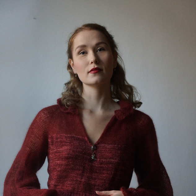 "Owlery Blouse in Athena ""Moulin Rouge"" and Pickles Silk Mohair"