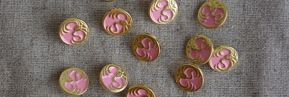 Nymphaea Button - Gold & Vintage Pink