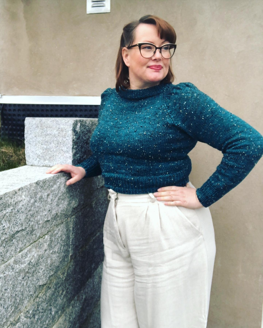 """Diagon Alley Jumper by Mona, knit in Geillis Tweed """"Moonglade"""""""