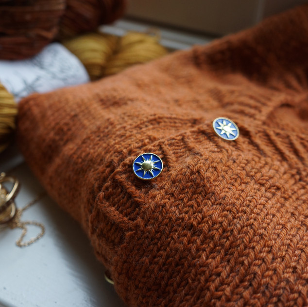 Burrow Cardigan knit in Pickles Soft Merino
