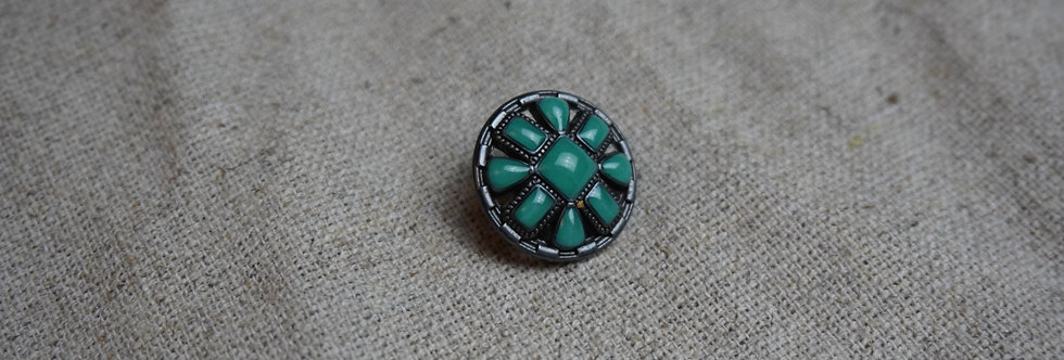 Byzantine Button - Turquoise and Silver