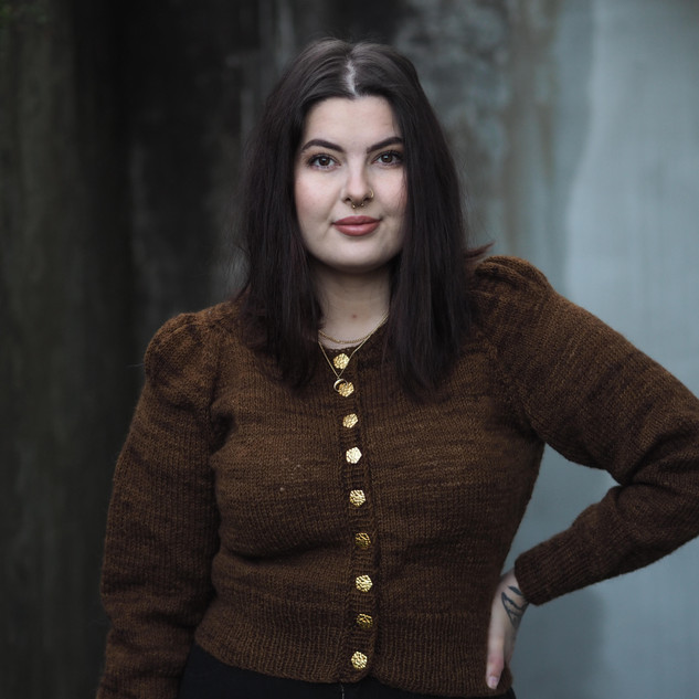 "Kristina Espedal in her Minerva Cardigan knit in Ask ""Acorn"" with Fabel Rose Buttons"
