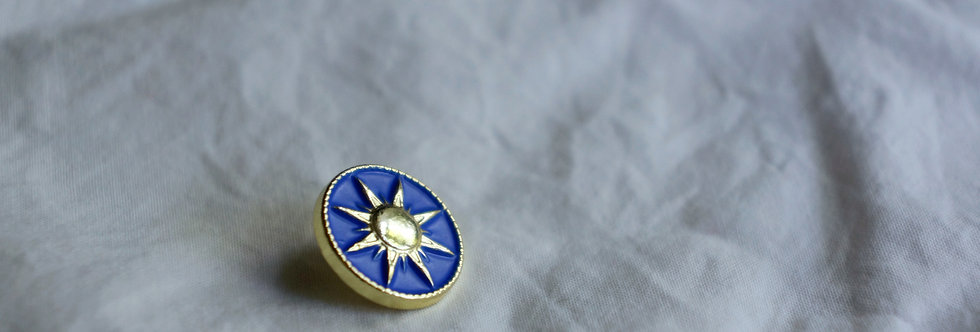 Regina Button - Gold & Royal Blue