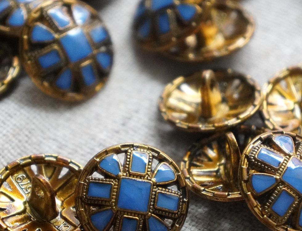 Byzantine Button - Azure & Gold