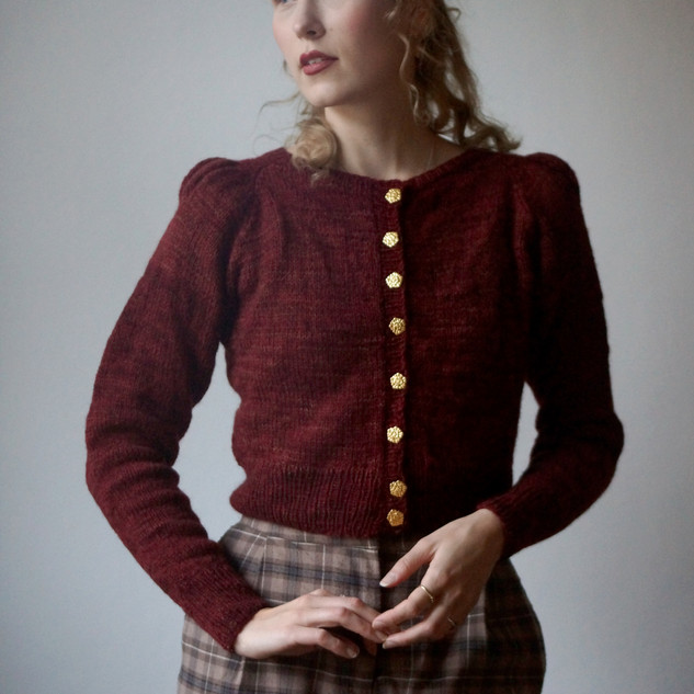 """Minerva Cardigan knit in Ask """"Wizards Robes"""""""