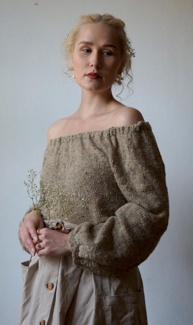 Paysanne Blouse in Pickles Merino Tweed