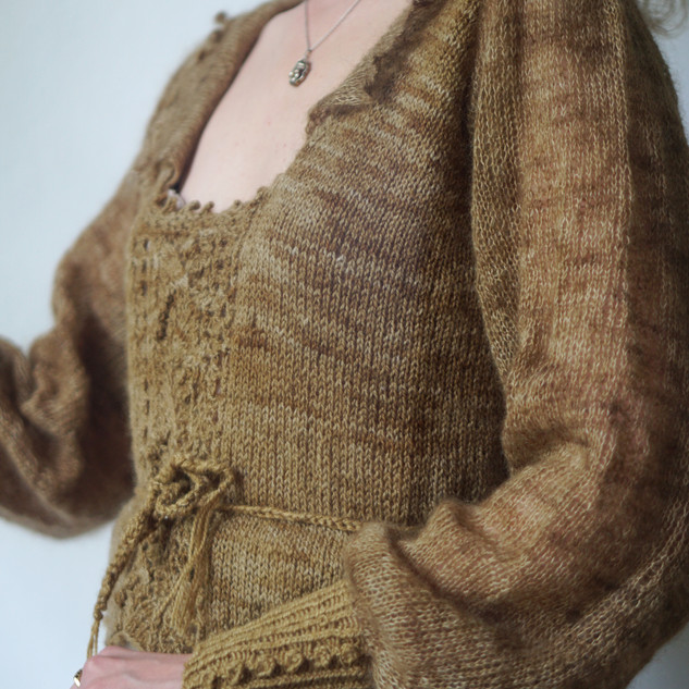"Antiquity Blouse knit in Ask and Mohair Silk ""Fey"""
