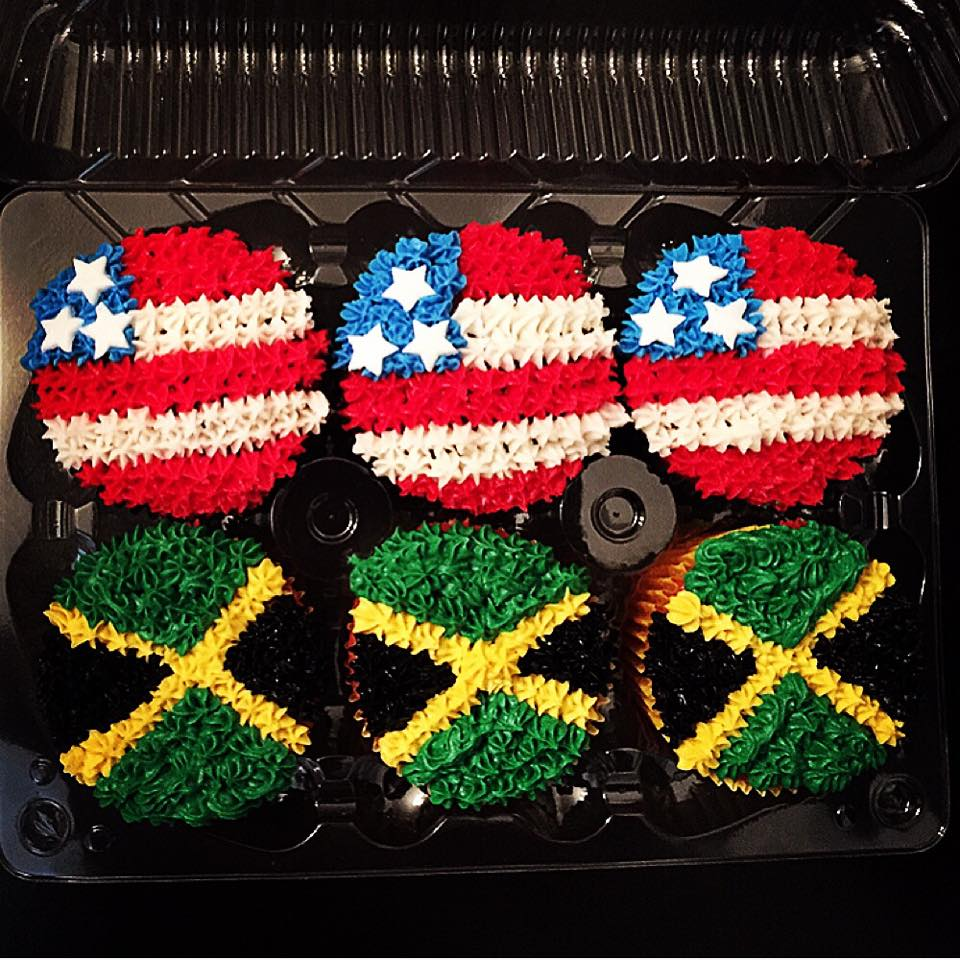 Jamacian and American flag cupcakes.jpg