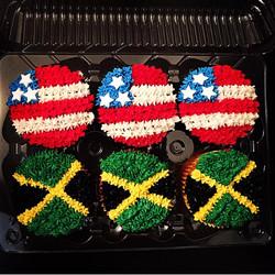 Jamacian and American flag cupcakes.jpg
