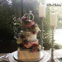 watercolor and ruffle wedding cake