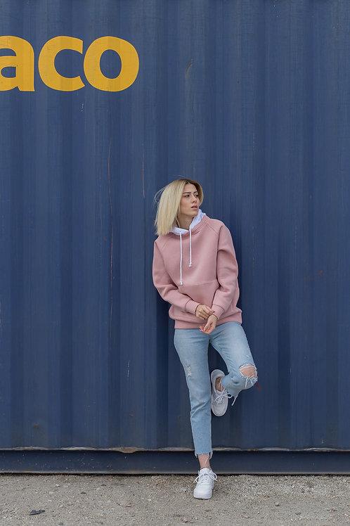 Happy Lingo Sweatshirt, Beden Somon, Kapişon Beyaz