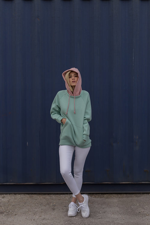 Happy Lingo Sweatshirt, Beden Yeşil, Kapişon Somon