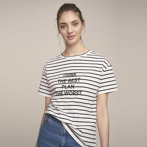 Çizgili Kumaştan Baskılı T-Shirt