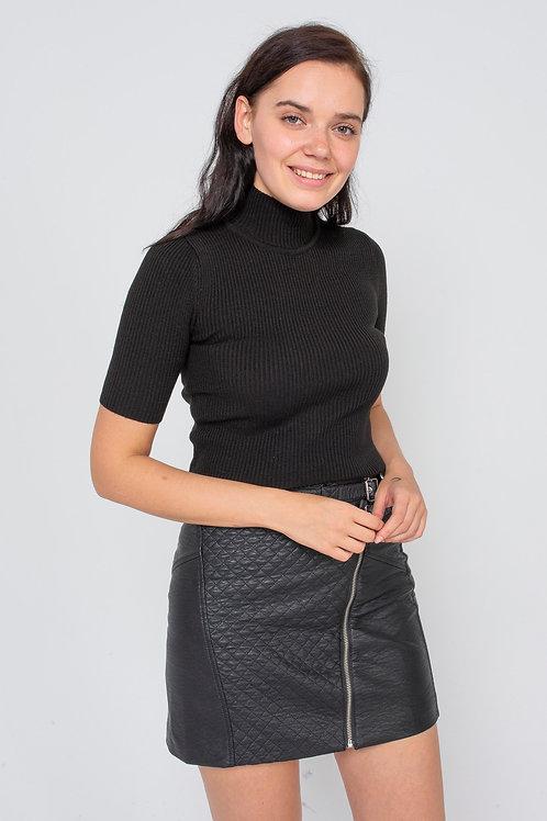 Kadın Likralı Balıkcı Siyah ve Sarı Bluz