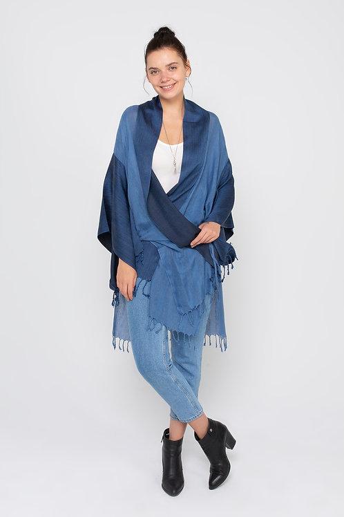 %100 İpek El Dokuma Kumaş Özel Tasarım Mavi Kimono