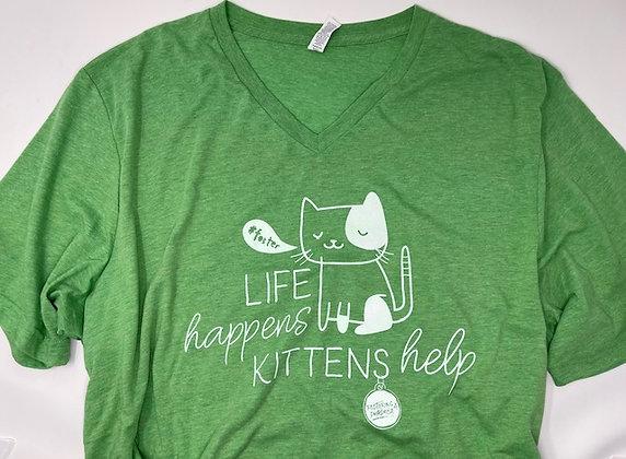 Life happens, Kittens Help V-Neck