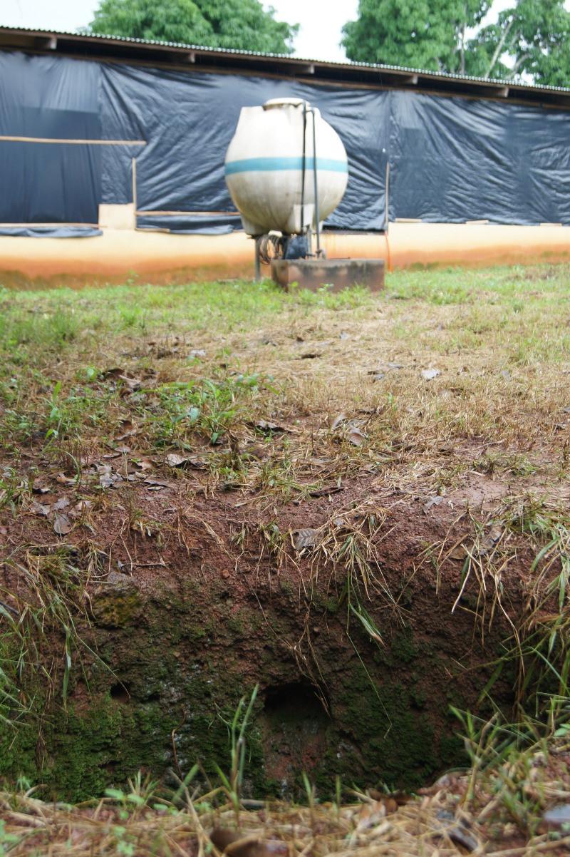 Le puits qui n'a rien donné au premier plan, et celui qui a permis de trouver l'eau 7 mètres plus loin