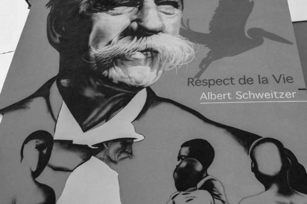 Fresque en l'honneur d'Albert Schweitzer peinte à Mulhouse