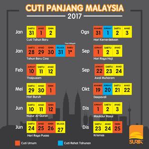 CUTI PANJANG TAHUN 2017 KALENDAR CUTI SEKOLAH MALAYSIA